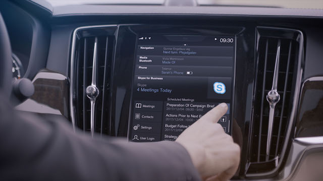 Volvo cars adds Microsoft's Skype for business to its 90